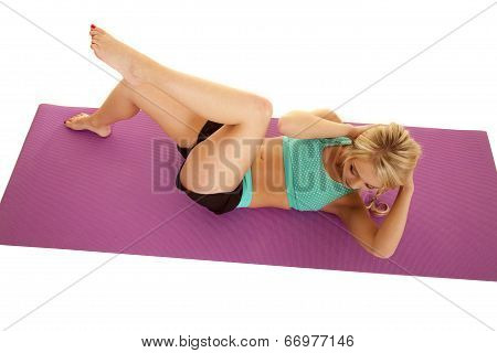 Woman Fitness Turquioise Top View Crunch