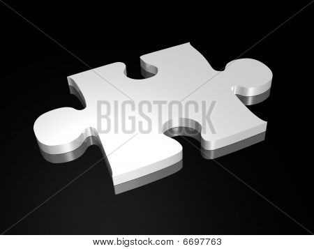 Silver puzzle piece on black background - 3D image