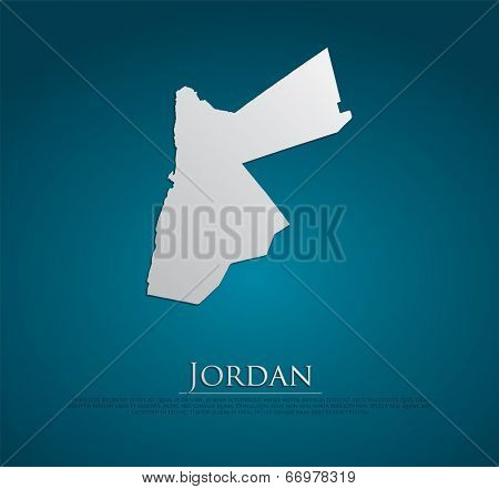 vector Jordan Map card paper on blue background, high detailed