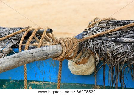rope on fishing ship. Sr Lanka.