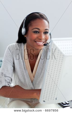 Self-assured Customer Service Representative With Headset On