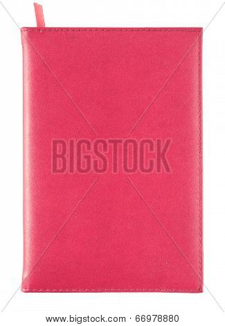 Red Leather Notebook Cover Isolated On White With Clipping Path