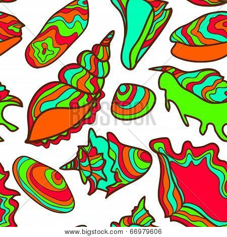 Colorful vibrant seamless seashell pattern
