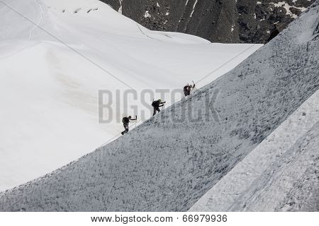 Mont Blanc, Chamonix, French Alps. France. - Tourists Climbing Up The Mountain