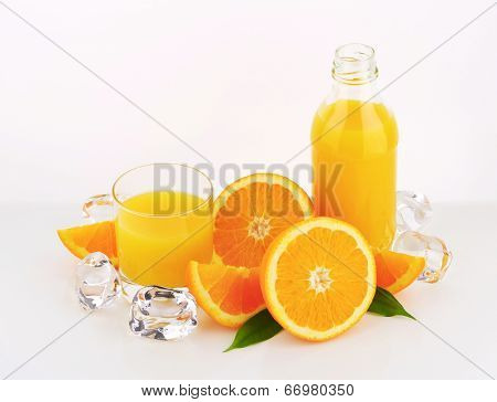 orange juice set with bottle, glass and frozen ice cubes
