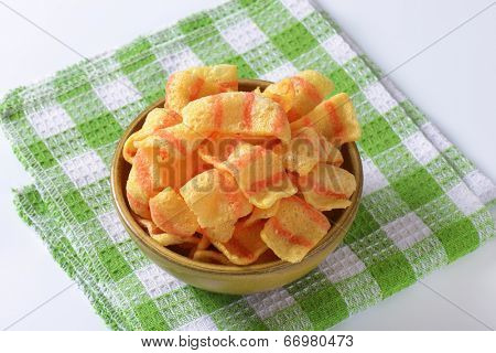 puffed crisps in the bowl