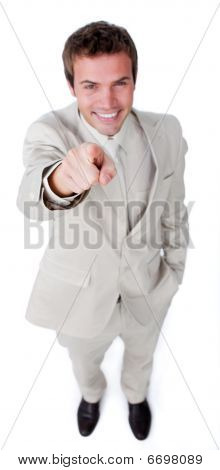 Assertive Attractive Businessman Pointing At The Camera