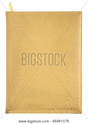 Yellow Leather Notebook Cover Isolated On White Background