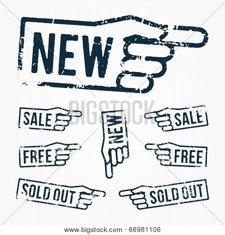 Vector set: pointing hand rubber stamps: new, sale, free, sold out