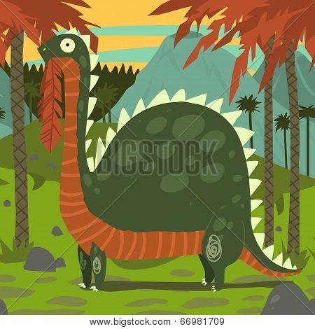 Dinosaur Eating Leaves.
