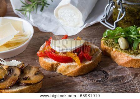 Bruschetta With Beans And Arugula, Mushrooms, Goat Cheese