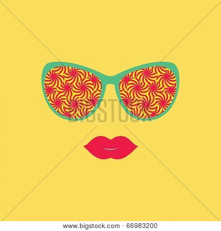 Sunglasses And Lips. Vector Illustration. Print For Your T-shirts