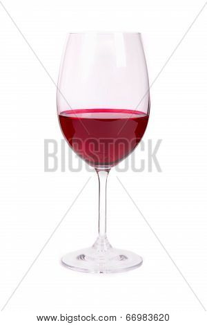 One Glass Of Red Wine On A White Background