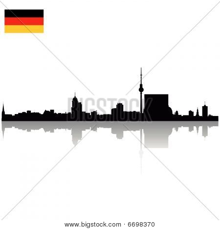 Black detailed vector Berlin silhouette skyline with flag