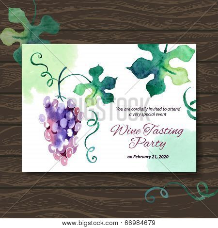 Wine Tasting Party Card. Vector Design With Watercolor Illustrat