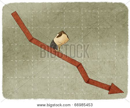businessman going down in a graph