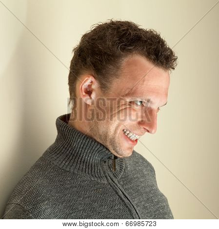Angry Laughing Young Caucasian Man Closeup Portrait