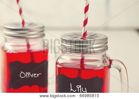 Kids Party Lemonade Drinks In Mason Jars