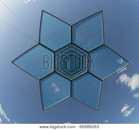 Six Pointed Star Design Object Over Blue Sky
