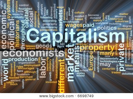 Capitalism Management Word Cloud Glowing