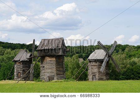 Three Traditional Old Ukrainian Rural Wind Turbines ,pirogovo,europe