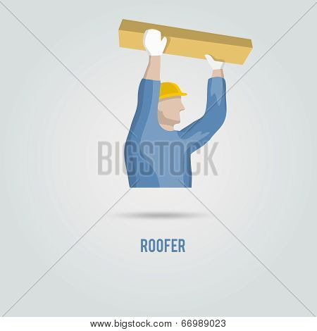 Roofer with wood icon