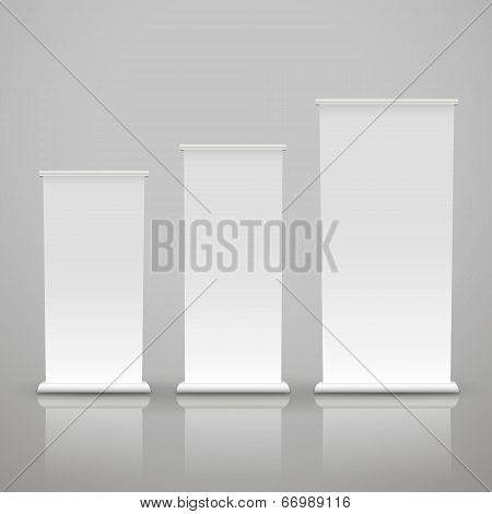Blank Roll Up Banner On A Gray Background