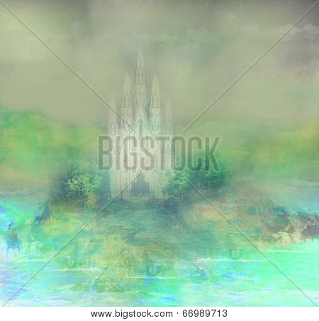 Abstract Landscape With Old Castle