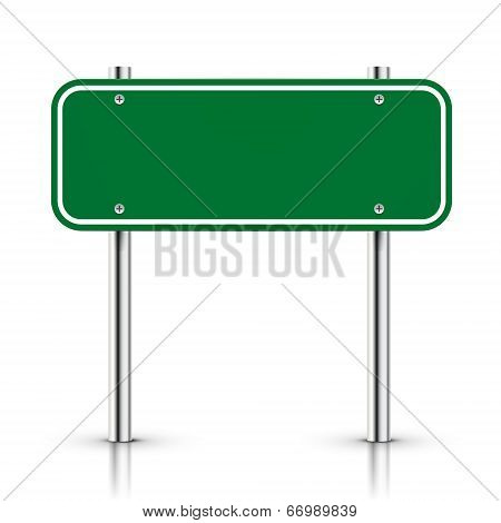 3D Vector Blank Green Traffic Road Sign