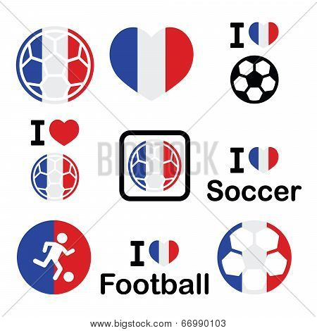 I love French football, soccer icons set