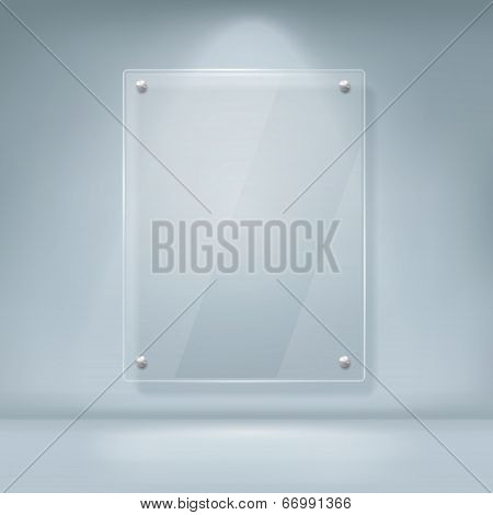 Vector Illustration Of Blank Glass Billboard