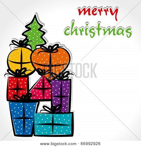 colorful christmas gift box background vector