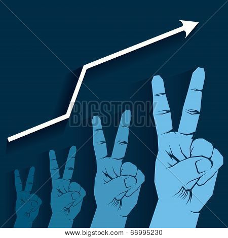 victory sign hand growth graph vector