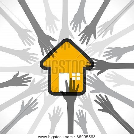 every hand want or purchase home concept vector