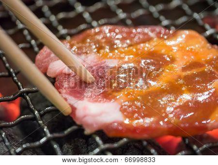 Grill Pork Using Chopstick
