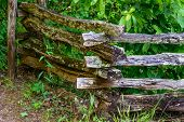 stock photo of split rail fence  - A rustic split rail fence in the mountains of South Carolina - JPG