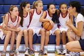 picture of 13 year old  - Coach Of Female High School Basketball Team Gives Team Talk - JPG