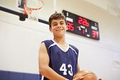 picture of 13 year old  - Portrait Of Male High School Basketball Player - JPG