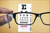 stock photo of exams  - Looking through eyeglasses at an eye exam chart - JPG