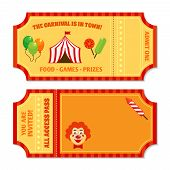 stock photo of pantomime  - Two vintage circus tickets with clown pavilion tent balloons and candy isolated vector illustration - JPG