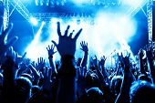 picture of pop star  - silhouettes of concert crowd in front of bright stage lights - JPG