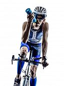 foto of triathlon  - man triathlon iron man athlete biker cyclist bicycling biking in silhouette on white background - JPG