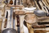image of food preparation tools equipment  - Old and various accessories for the preparation of food - JPG