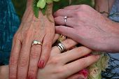 picture of grandmother  - Bride mother and grandmother showing hands with wedding ring - JPG