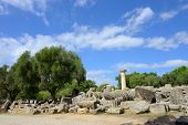 stock photo of olympic-games  - Greece Olympia ancient ruins of the temple of Zeus it most important building in the Altis in Olympia birthplace of the olympic games  - JPG