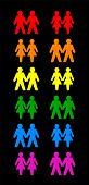 picture of gay pride  - Six gay couples and six lesbian couples form the colors of the gay pride rainbow flag - JPG