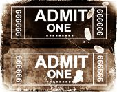 Admit One Ticket and cinema ticket