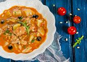 stock photo of cod  - Fish soup with cod - JPG