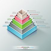 stock photo of parallelepiped  - Modern infographics options banner with 3d pyramid for 5 options made of colorful blocks - JPG