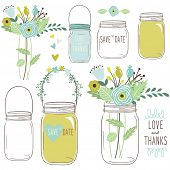 stock photo of masonic  - Wedding flower Mason Jar - JPG
